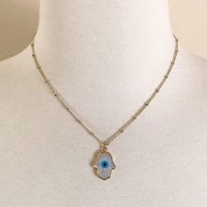 LAST ONE Hamsa Evil Eye 14K Gold Shell Necklace